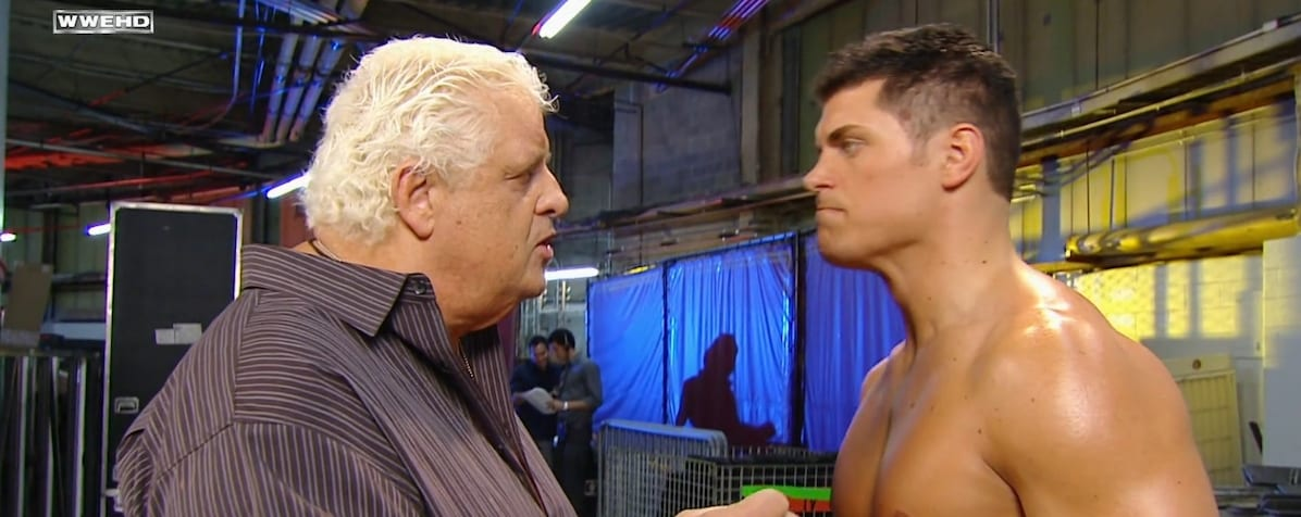 Dusty Rhodes gives Cody a pep talk backstage