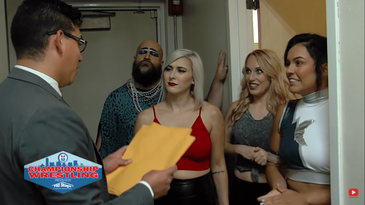Nikko Marquez tries to sweet talk the women's division outside their locker room