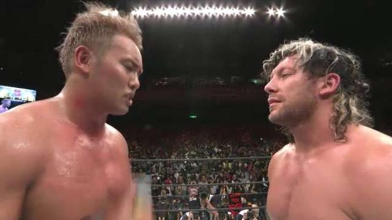Kenny Omega and Kazuchika Okada stare each other down