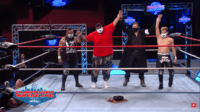 Miguel has his hand raised by So-Cal Distancing on Championship Wrestling