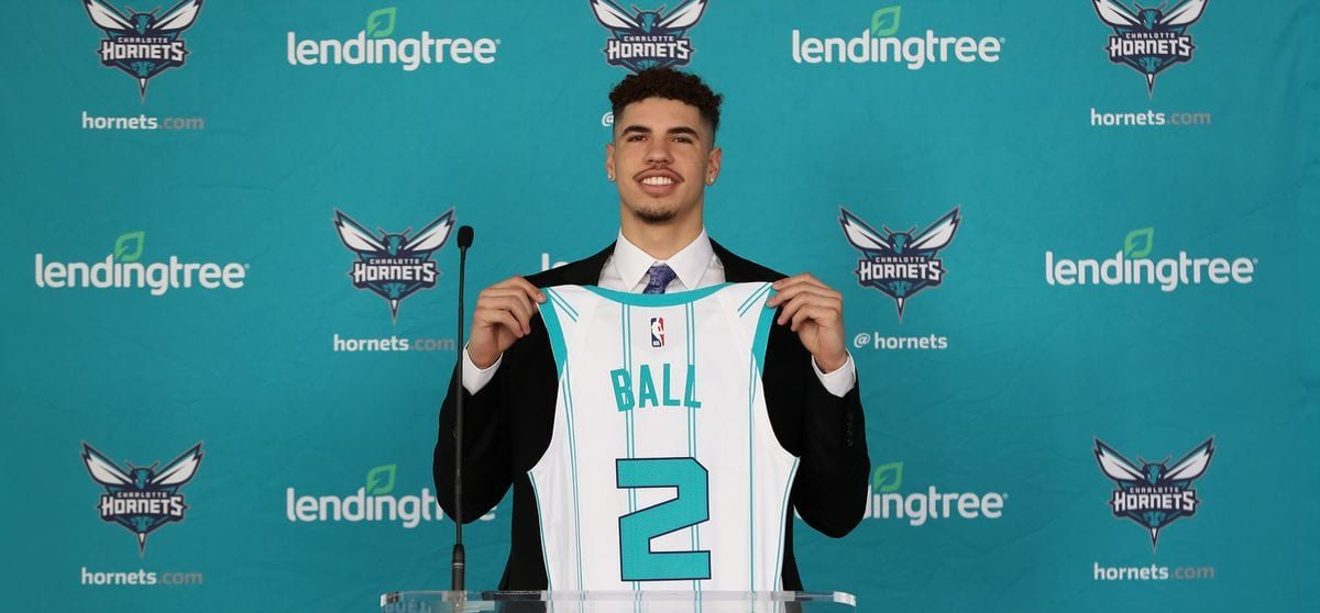 LaMelo Ball the third overall pick in the 2020 NBA draft displays his jersey.