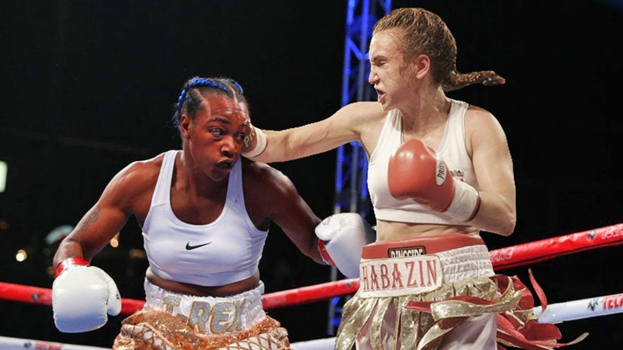Claressa Shields throws a low fist at Ivana Habazin