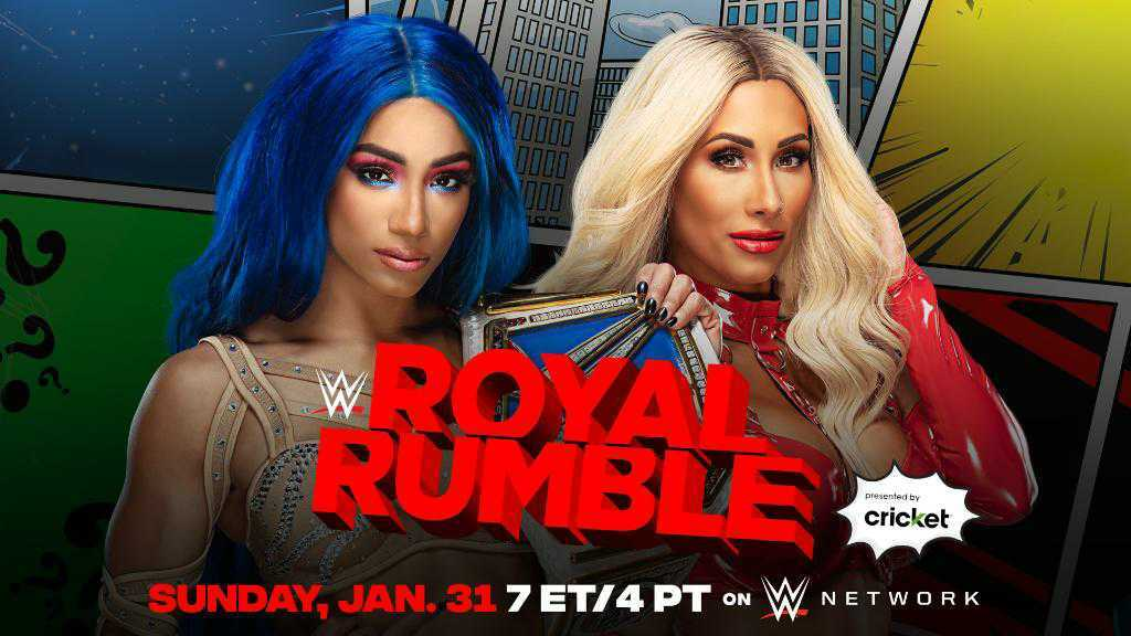 Sasha Banks will defend the SmackDown women's Championship against Carmella at the Royal Rumble