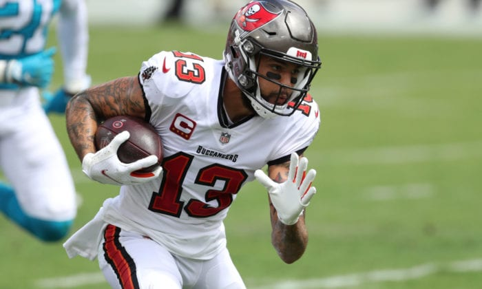 Mike Evans with the football