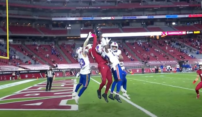 DeAndre Hopkins goes up to catch the now famous Hail Murray pass in between 3 Bills defenders. Hopkins' first season with the Cardinals was one of the best receiver debuts of all time.