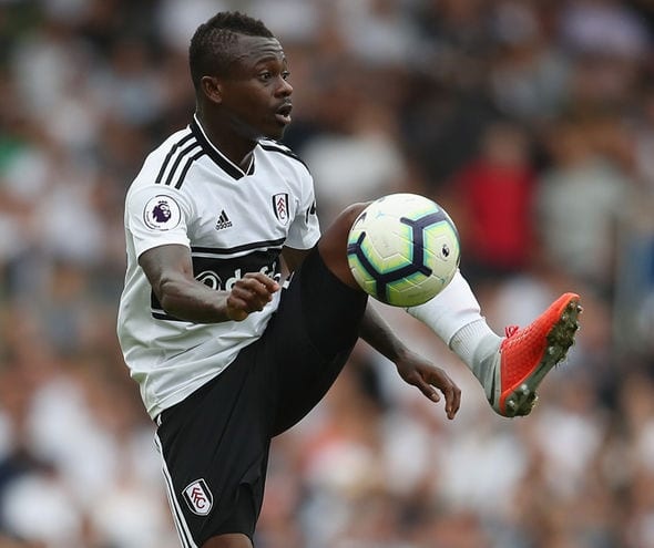 Jean Michael Seri gets his feet up to the ball