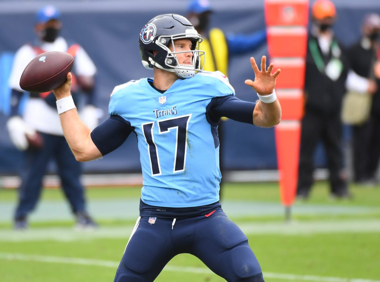 Tennessee Titans quarterback Ryan Tannehill (17) attempts a pass during the first half against the Pittsburgh Steelers at Nissan Stadium.