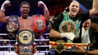Anthony Joshua and tyson fury in a mock up picture, stood side by side with all the gold.
