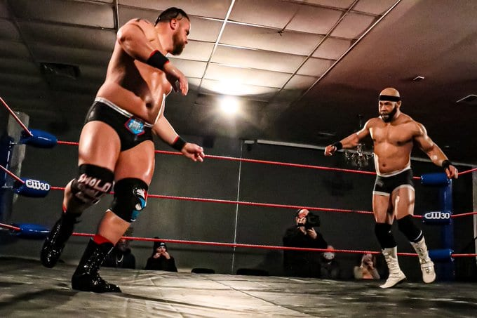 Justin Cole and Mike Anthony prepare to square off on Championship Wrestling from Memphis