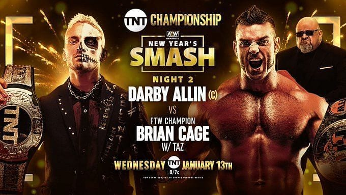 Darby Allin vs. Brian Cage title card for AEW New Year's Smash