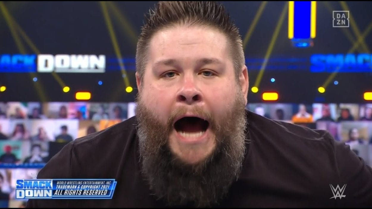Kevin Owens screams at the camera to end SmackDown