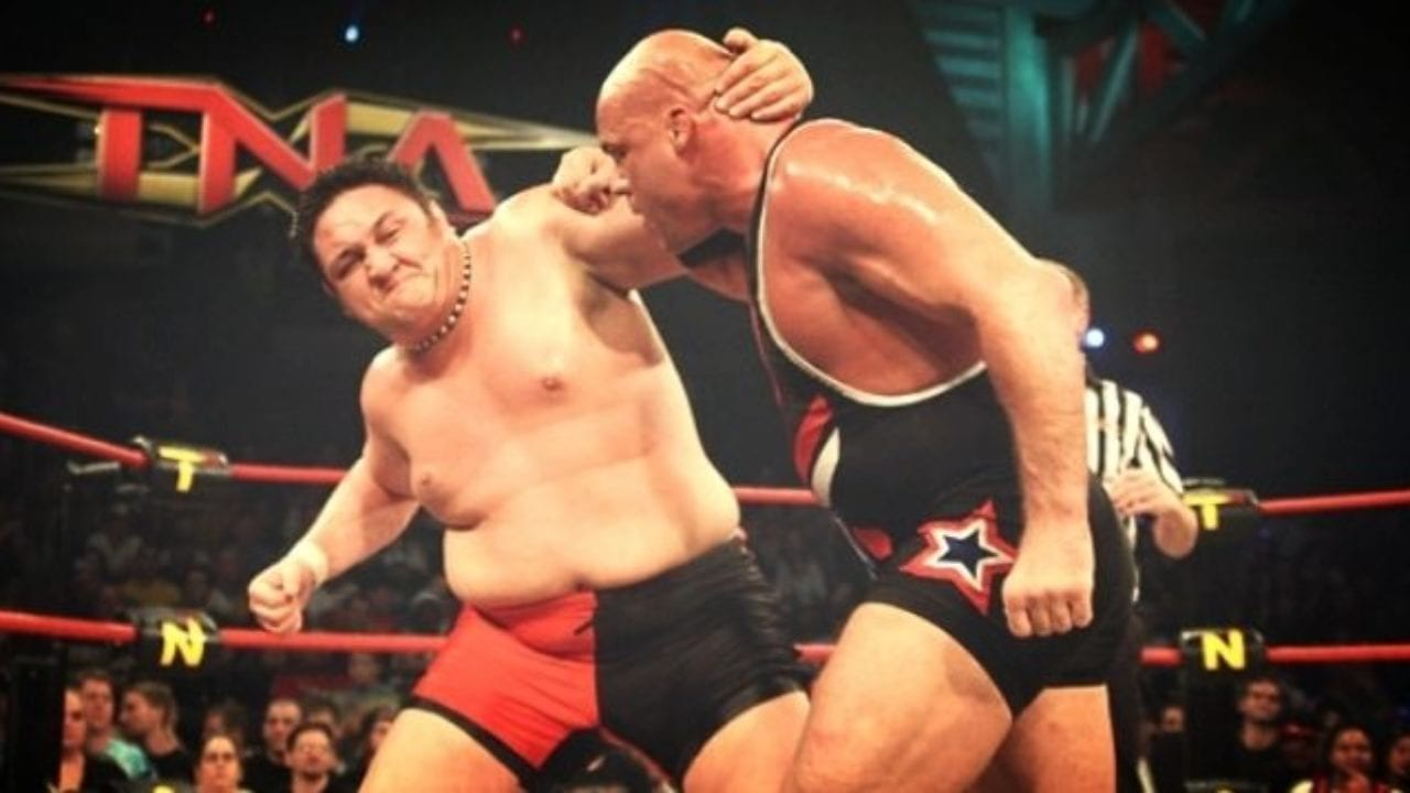 Samoa Joe takes a swing at Kurt Angle at TNA