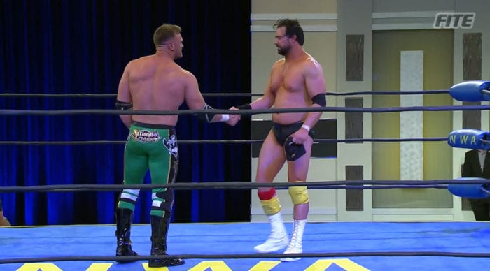 Nick Aldis and Aron Stevens shake hands at NWA Back For The Attack