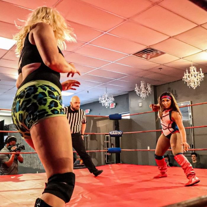 Diana Taylor and Amber Rodriguez prepare to square off