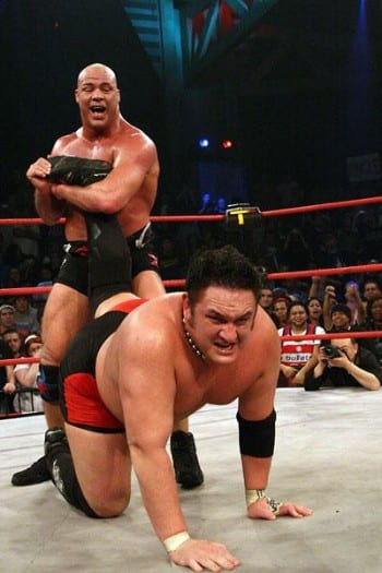 Kurt Angle has Samoa Joe trapped in the ankle lock at TNA Turning Point 2006