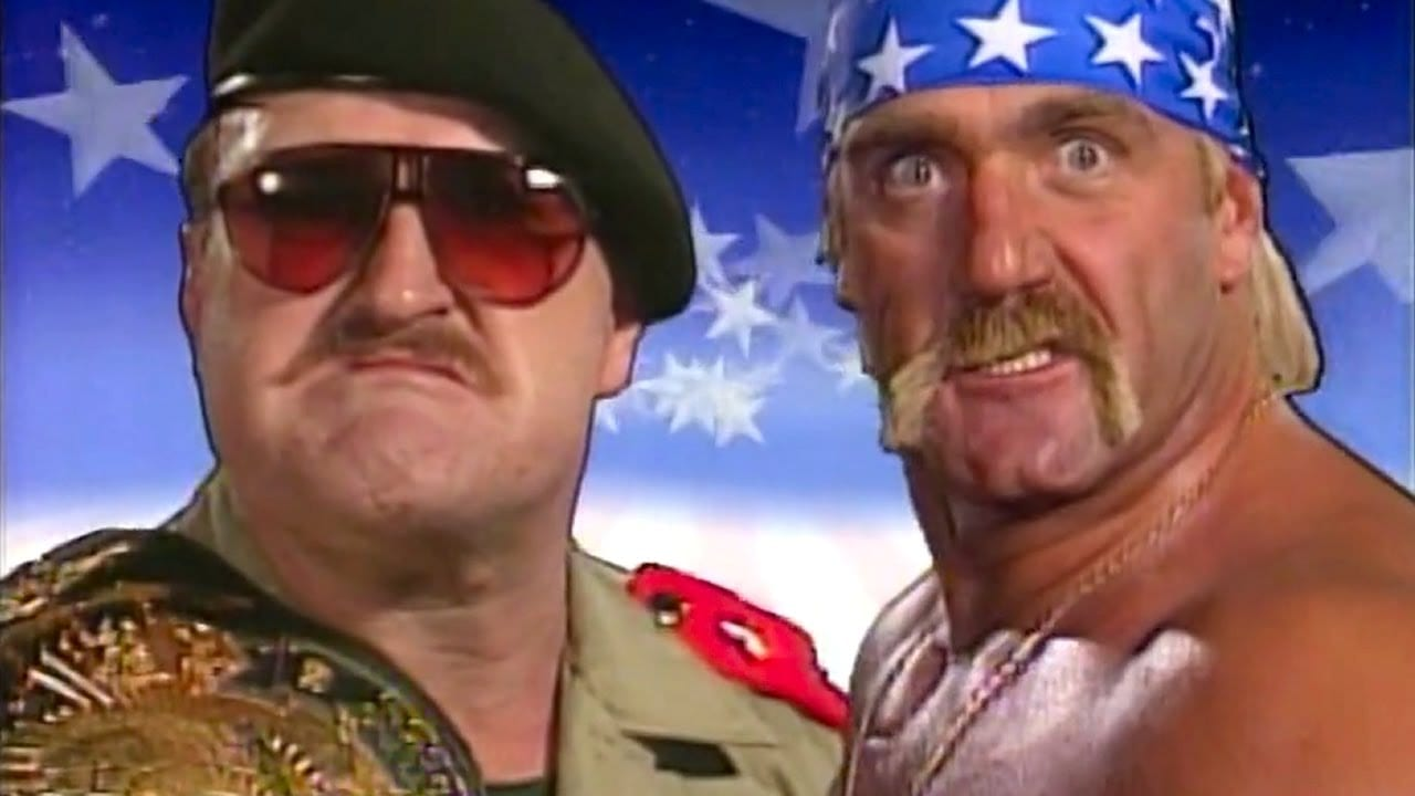 Sgt Slaughter and Hulk Hogan pose in the opening video for WrestleMania 7