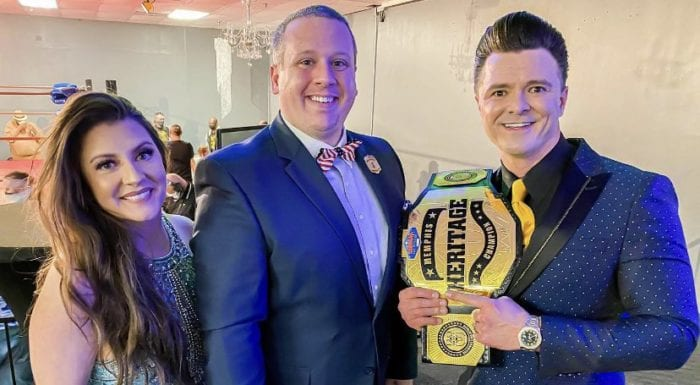 Maria Starr, Terence Ward and Dustin Starr pose with the Memphis Heritage title belt
