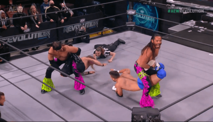 The Young Bucks hold MJF and Chris Jericho in stereo sharpshooters - March 2021