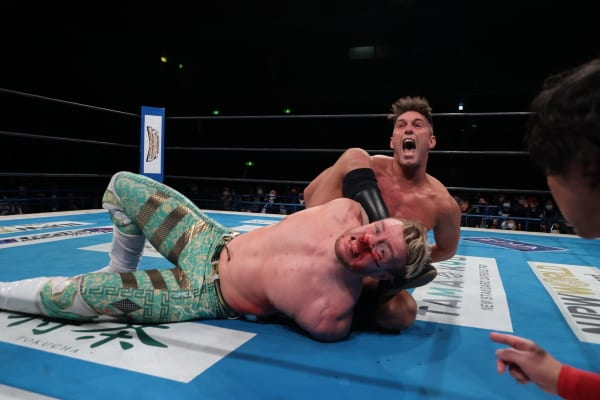 Zack Sabre Jr has a bloodied Will Ospreay tied up - March 2021