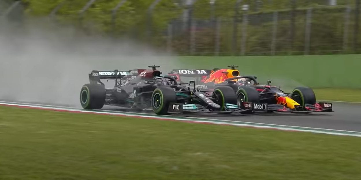 Verstappen battles for space on the track