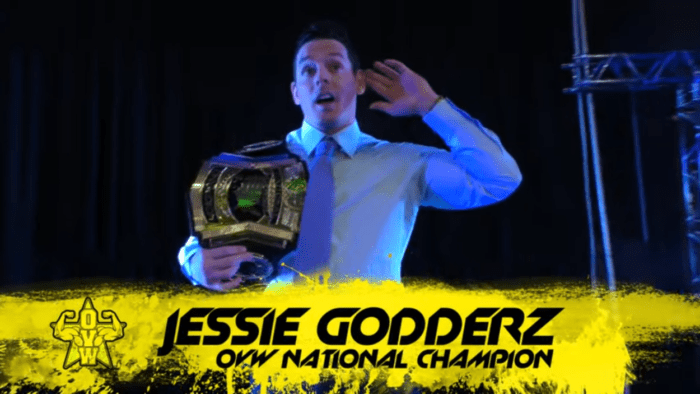 Jesse Godderz does his best Hulk Hogan ear-cupping as he makes an entrance at OVW