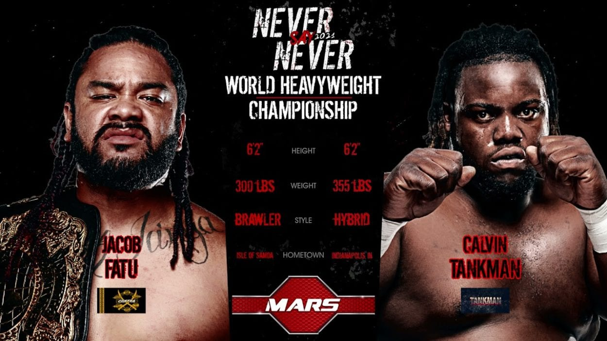 MLW Never Say Never Jacob Fatu vs. Calvin Tankman title card
