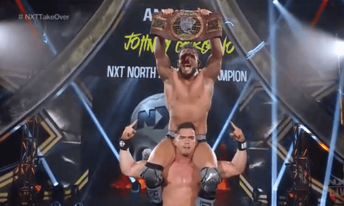 Johnny Gargano is held up on Austin Theory's shoulders