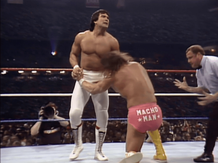 Ricky Steamboat gets the better of Randy Savage in a test of strength during their Intercontinental title match at WrestleMania 3