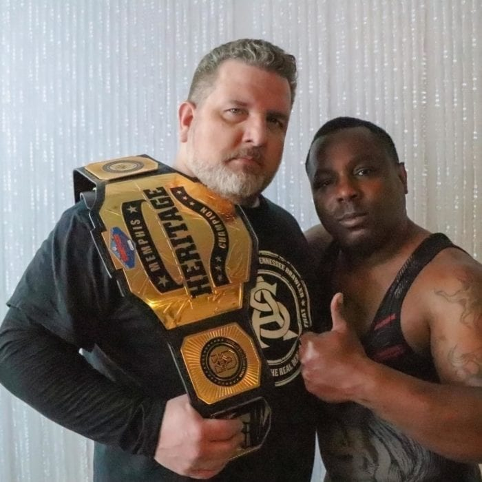Alan Steel and Johnny Dotson pose with the Memphis Heritage belt