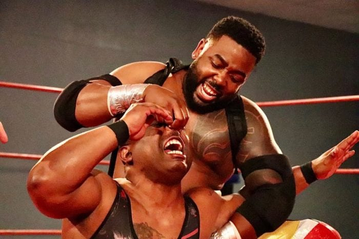 Action Jackson fish hooks the nose of Johnny Dotson