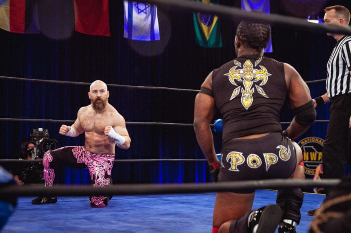 Matt Cross and The Pope stare each other out