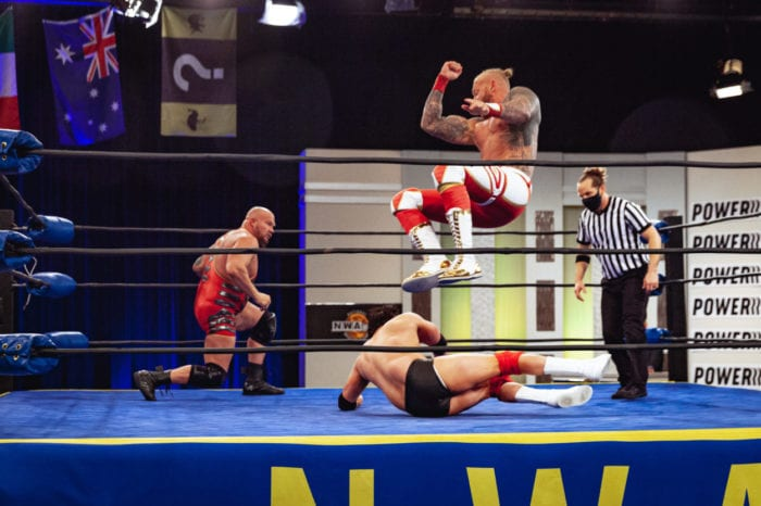 Aron Stevens moves out of the way of a Crimson elbow drop