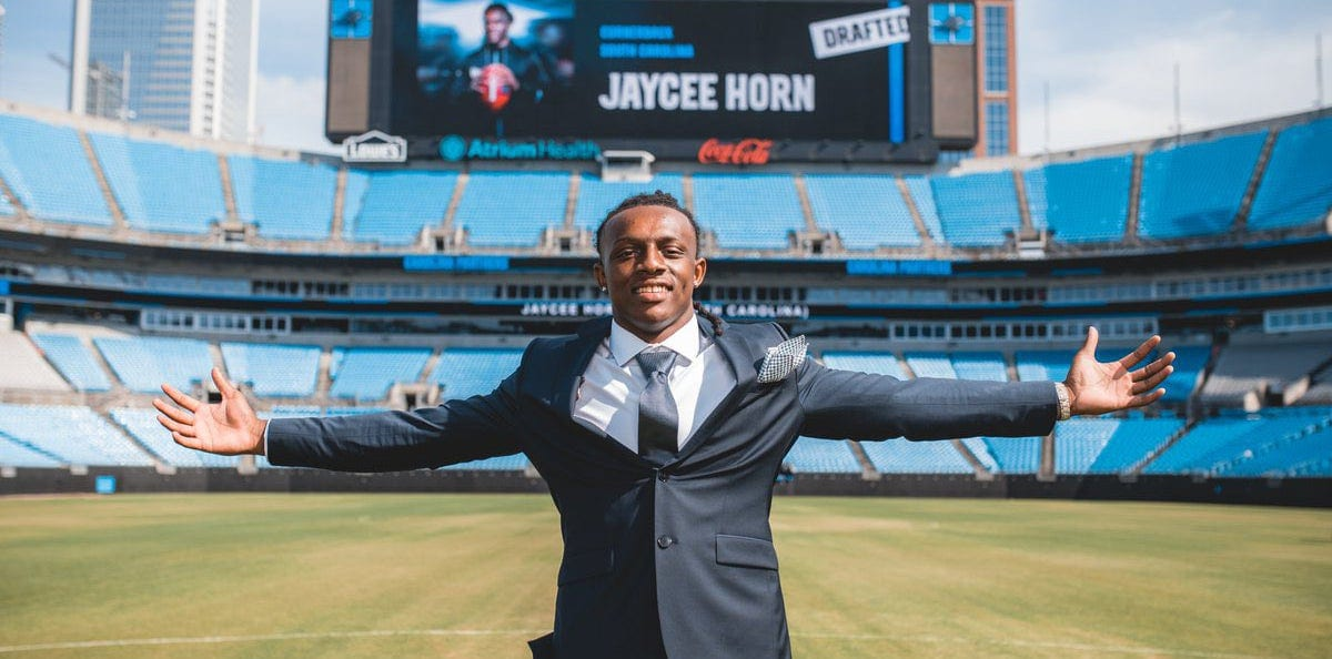 Panthers draft pick Jaycee Horn at Bank of America Stadium.