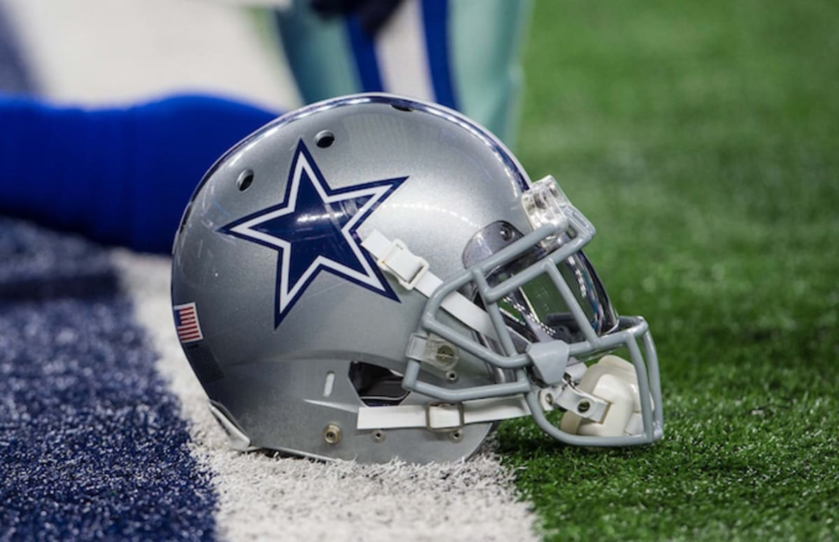 Dallas Cowboys helmet on the goal line