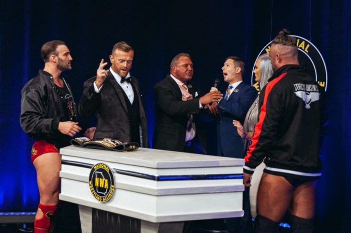 Tim Storm calms Joe Galli down as Strictly Business look on