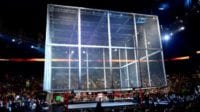 The Hell in a Cell descends from the rafters over the ring