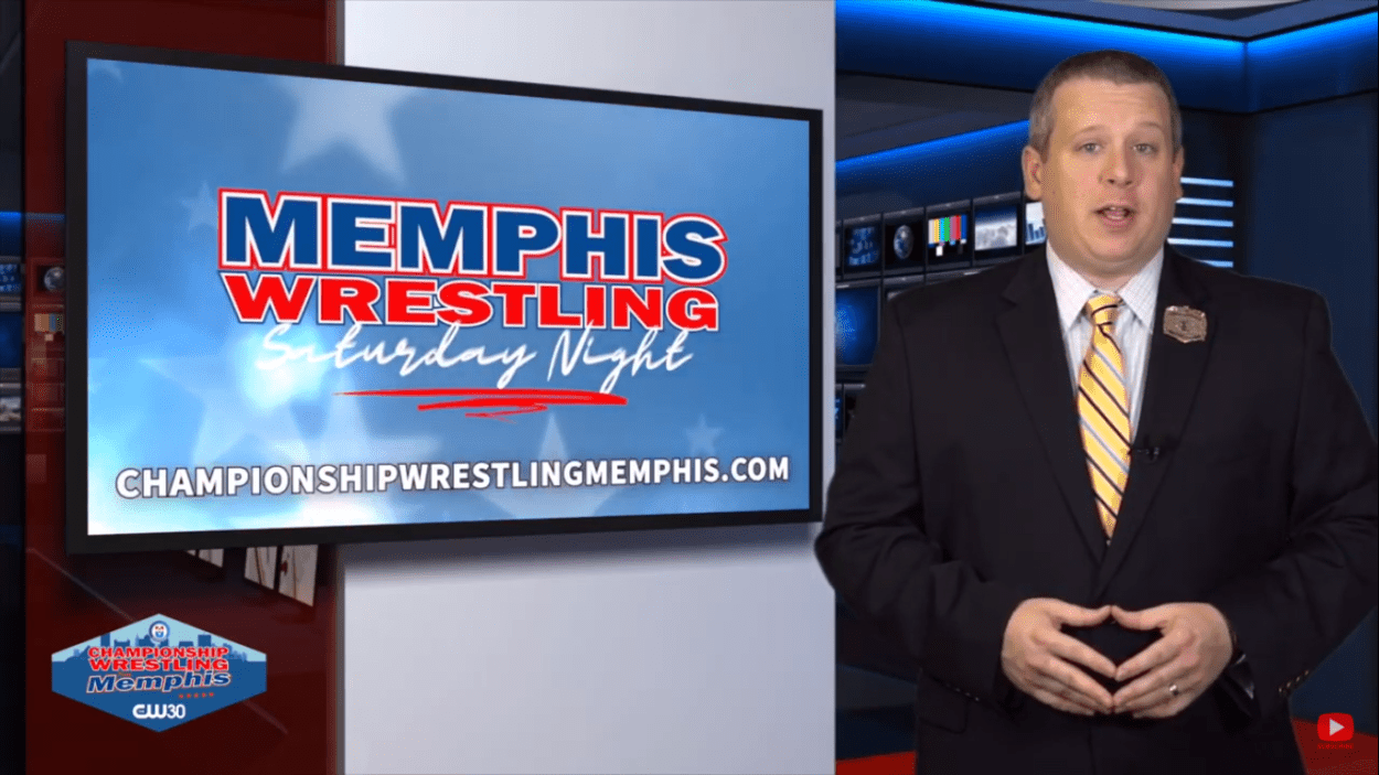 Terrence Ward speaks next to the Memphis Saturday Night logo