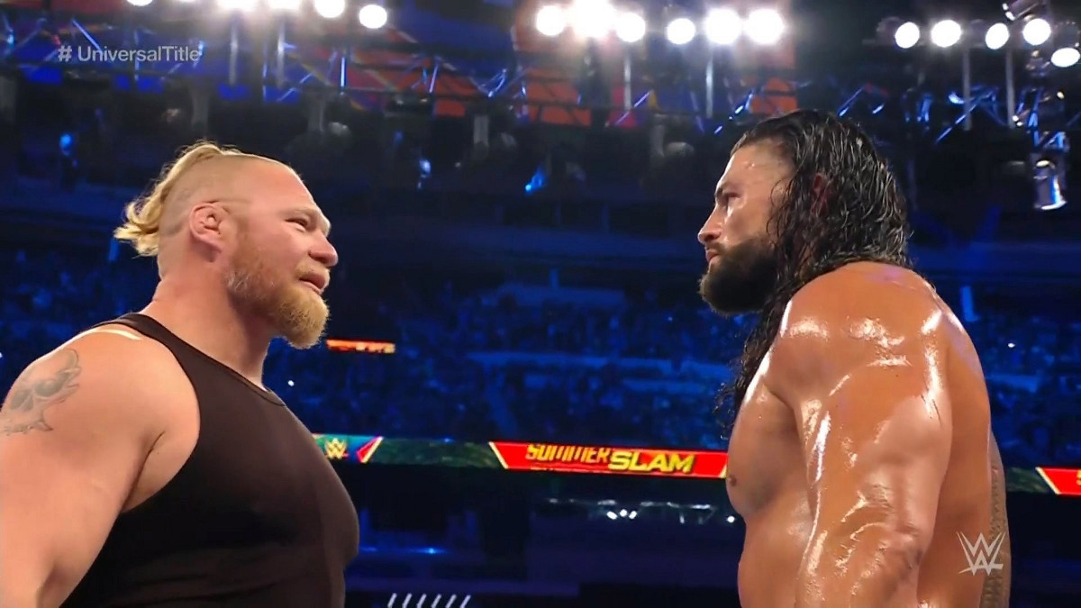Brock Lesnar faces off with Roman Reigns at SummerSlam 2021