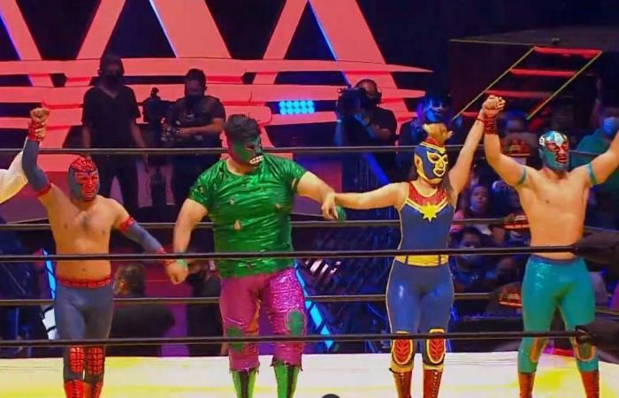The Avengers celebrate at Triplemania