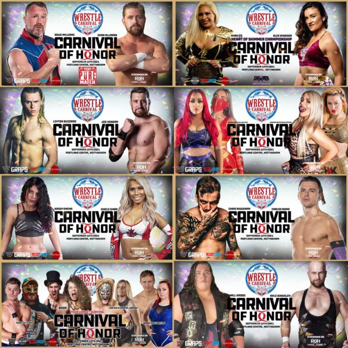Wrestle Carnival match cards for Carnival of Honor