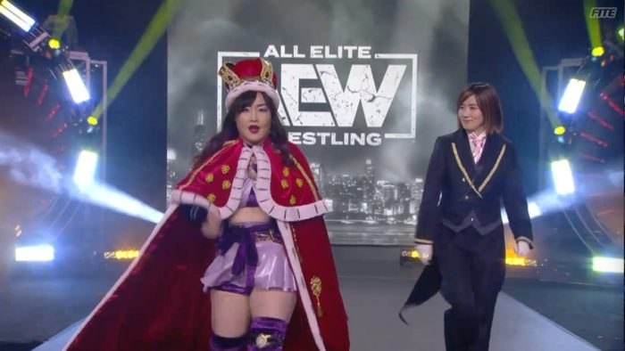 Emi Sakura and Lulu Pencil make their way to the ring during the Casino Battle Royal