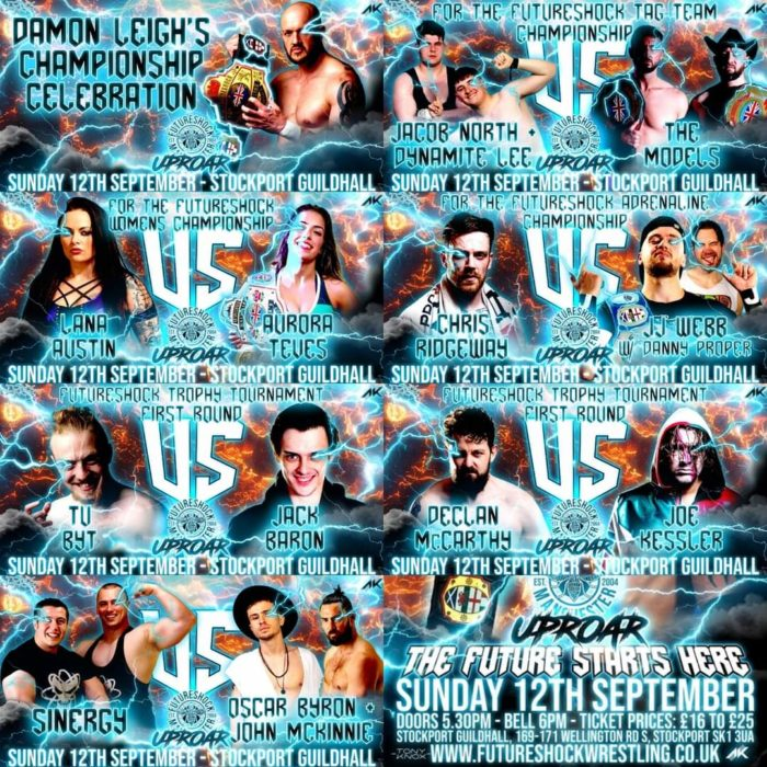 Futureshock Uproar promotional image with all the matches