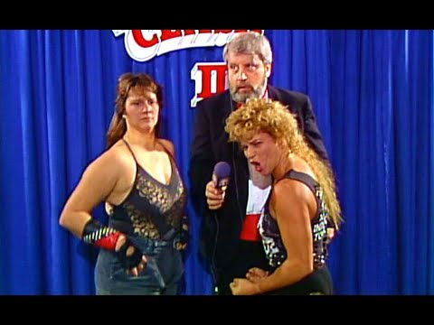 Larry Nelson gets 'over-excited' interviewing Luna Vachon and Peggy Lee Leather at AWA Superclash III