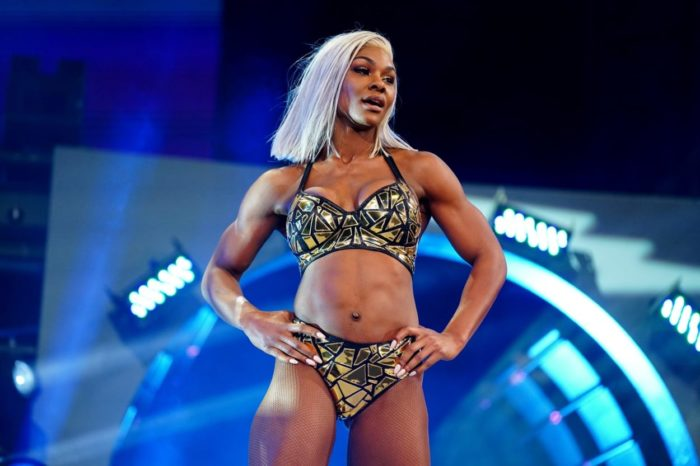 Jade Cargill stuns in a black and gold number before a match at AEW