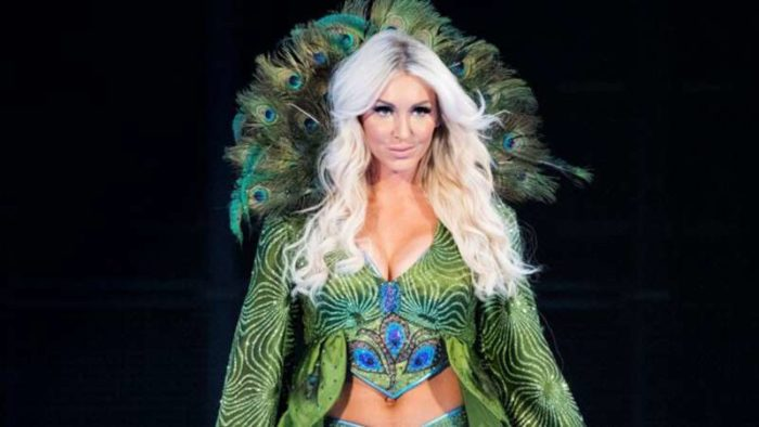 Charlotte Flair in her Green and Blue Peacock robe