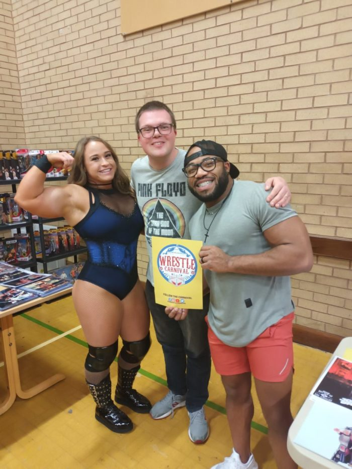 The author with Jordynne Grace and Jonathan Gresham at Wrestle Carnival